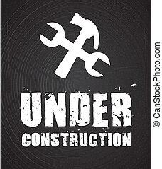 under construction over black background. vector...