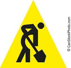 Under construction warning sign. Vector