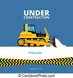 under construction web page. bulldozer and danger