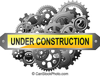 Under construction web page with gears and pinions for...