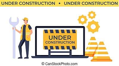 Under construction website concept. Vector flat cartoon graphic design isolated illustration