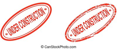 under construction word red stamp