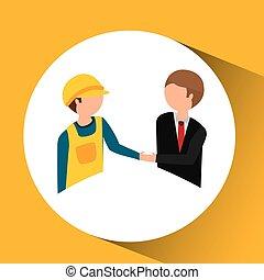 under construction worker with businessman