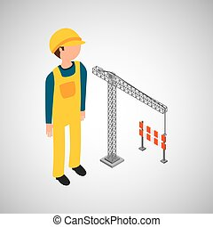 under construction worker with crane barrier