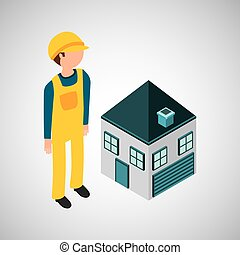 under construction worker with house