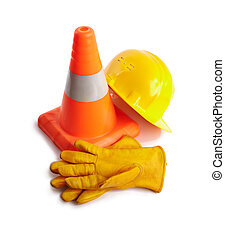 yellow hardhat, Traffic cone and working gloves isolated on white background, selective focus