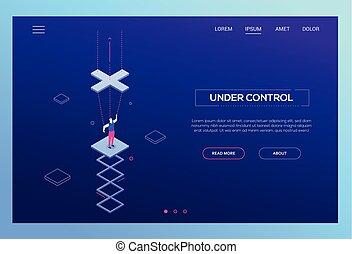 Under control - modern isometric vector website header