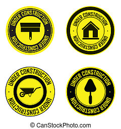abstract special under construction labels on white background