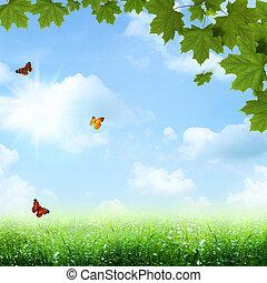 under, den, blå, skies., abstrakt, fjäder, och, sommar,...