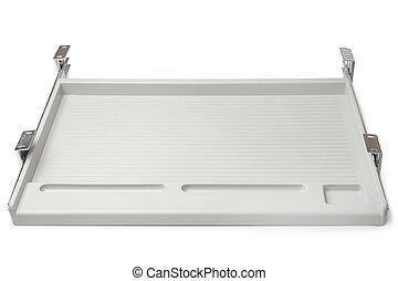 Under-desk keyboard drawer on white background