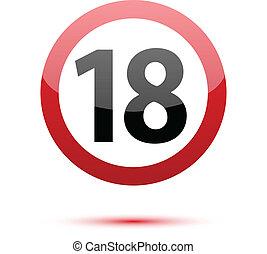 Under eighteen sign on white background