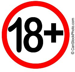 Under eighteen years prohibition sign, adults only,