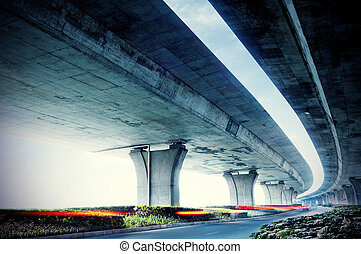 Under elevated road - Below the viaduct of the city