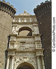 Under-gate sculpture at Medieval Castle - Main gate ...