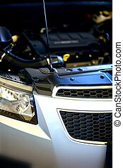 Under Hood - Repairing Modern Vehicle. Modern Car Engine...