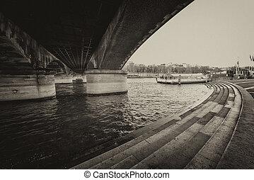 Under Iena Bridge, Paris. Seine river in Eiffel Tower area