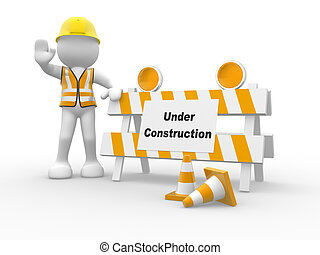 3d people icon and under construction. This is a 3d render illustration