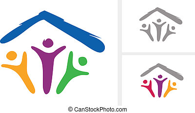 Abstract pictogram of family under one roof. In 2 different color variants (including inverse). VECTOR.