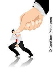 A metaphor illustration of under pressure businessman
