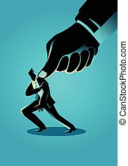 Business concept illustration of a businessman being pressed by a giant thumb