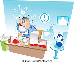 Illustration of a busy man at the office