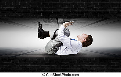 Under pressure - Young troubled businessman trapped between...