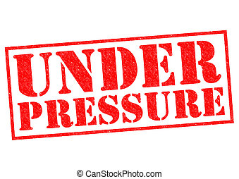 UNDER PRESSURE red Rubber Stamp over a white background.