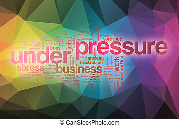 Under pressure word cloud with abstract background
