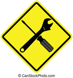 Under Repair - Iconic illustration of a wrench and screw...