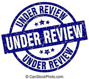 under review blue round grunge stamp