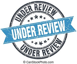 under review blue round grunge vintage ribbon stamp
