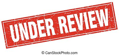 under review red square grunge stamp on white