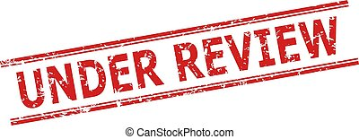 Red UNDER REVIEW stamp seal on a white background. Flat vector textured seal stamp with UNDER REVIEW caption between double parallel lines. Imprint with grunged style.