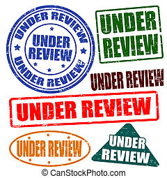 Under review, stamp set - Set of grunge rubber stamps with ...