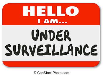 Under Surveillance Hello I Am Being Watched Nametag Illustration