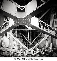 Under the bridge - Steel girders support underneath bridge