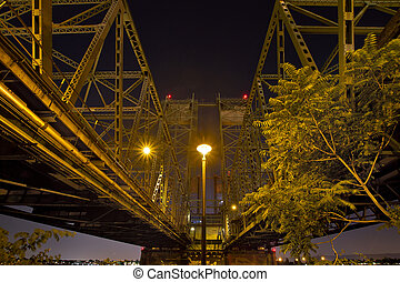 Under the Columbia River Corssing I-5 Interstate Bridge at Night