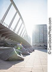 Under the Exhibition bridge in the turia river park, Valencia, Spain