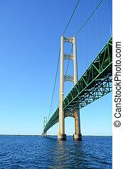 View From Below the Mackinac Bridge in Michigan