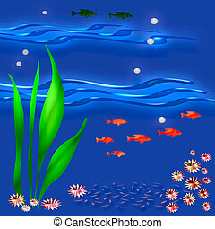under the sea - colorful fish and plants on blue background