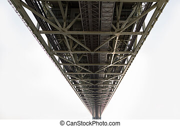 Under the steel bridge construction perspective view on...