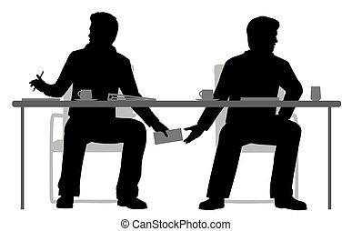 EPS8 editable vector illustration of two businessmen making a secret deal under the table