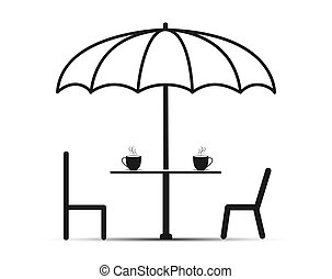 Under the umbrella two chairs and a table with tea, simple design