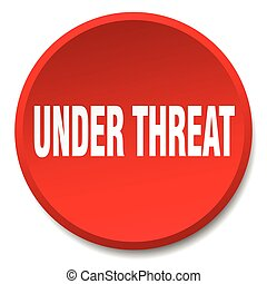 under threat red round flat isolated push button