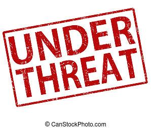 Under threat grunge rubber stamp on white, vector illustration