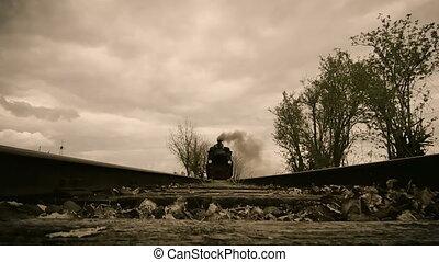 under train - action cam shot of an vintage steam train...