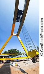 under view of big cranes