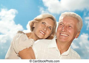 underbar, elderly kopplar ihop, went, för, a, gå