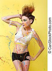 underbar, kvinna, plaska, med, färgrik, måla