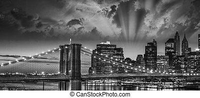 underbar, solnedgång, färger, över, new york, stadsbild